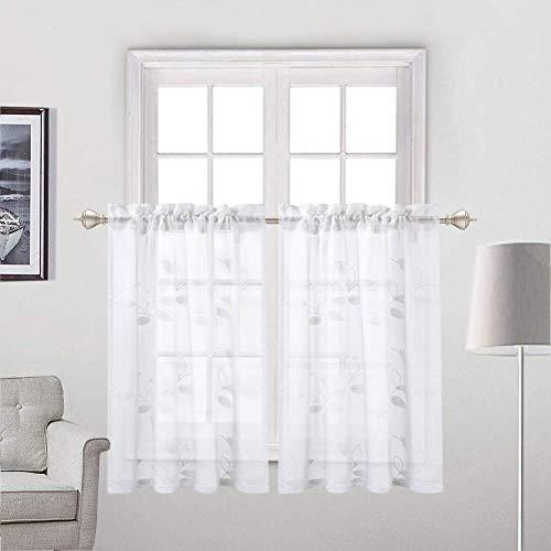 LinTimes Voile Kitchen Scheibengardine, halb Fenster Blatt Muster Kurzstore Vorhänge für Badezimmer Tier Vorhang,2er Set,66 * 76cm(26