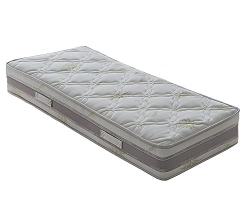 Nicoflex Memo Aloe Materasso Memory, Poliuretano/Cotone, Bianco, Esclusiva Amazon, 200x80x22 cm