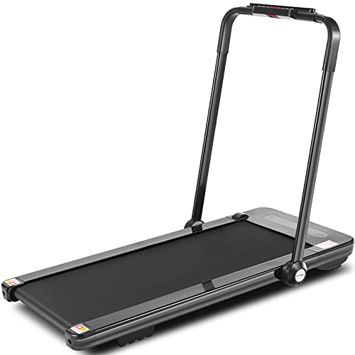 HIROLLOP 2 in 1 Folding Treadmill, Under Desk Treadmills with Bluetooth Speaker, Installation-Free with Remote Control & LED Display,Walking Running Machine for Home Office Gym(Black)
