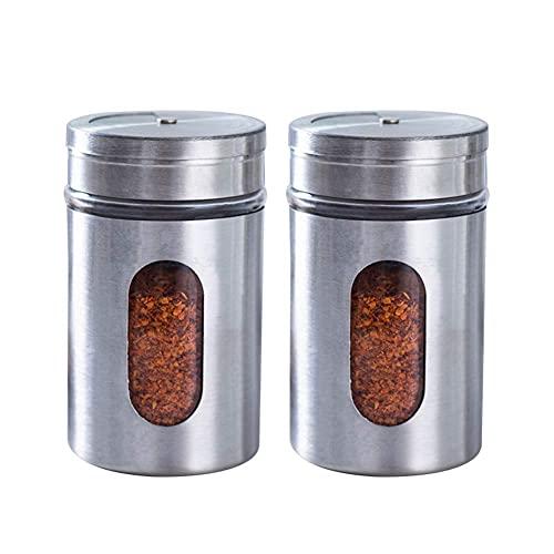 Fuerte y firme, imprescindible para el hogar Tarjetas de acero inoxidable Spice Tarras de recipientes de especias de vidrio con tapas para cocteleras y spice shist para condimentos de hogar -c