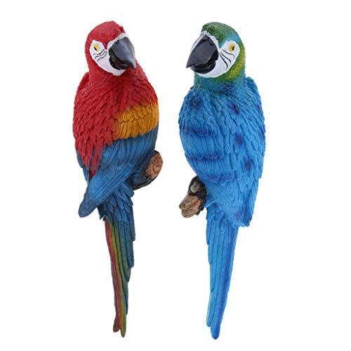2 Stück Papagei Ara Dekofigur für Balkon, Zaun, Baum Terrasse und Garten Deko