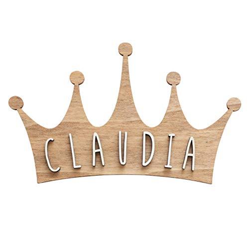 VINTIUN Placca a forma di corona di legno con kit di lettere adesivi da parete