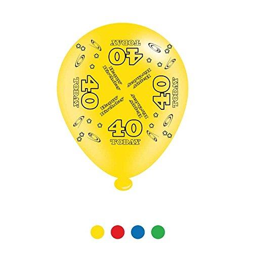 Pack van 8 veelkleurige veertigste verjaardag partij ballonnen - lucht of helium vullen - 40 vandaag
