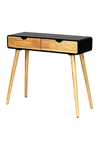 Heather Ann Euro Collection Writing Desk Console Table, Black