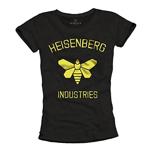 Breaking Bad T-Shirt für Damen Aufdruck Heisenberg Industries schwarz Größe L