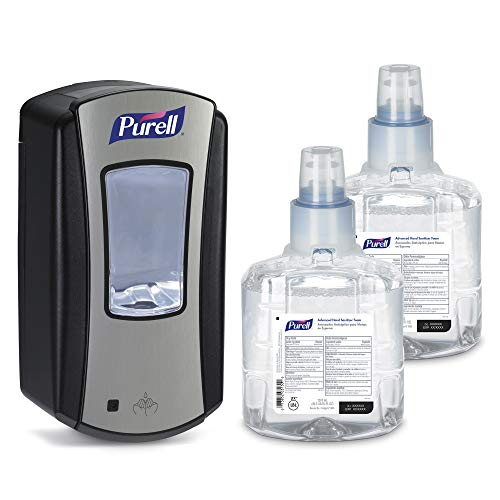 PURELL Advanced Hand Sanitizer Foam LTX-12 Starter Kit, 2- 1200 mL Hand Sanitizer Foam Refills + 1- PURELL LTX-12 Chrome Finish Black Touch-Free Dispenser - 1905-D1