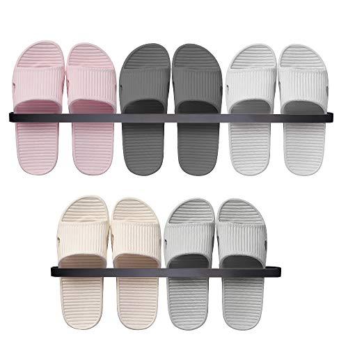 Aokyom 2 Piezas Zapatero montado en la Pared Toallero de Pared para baño Montados En La Pared Zapateros Toalleros Estante para Zapatos de Montaje en Pared Aluminio Espacial Punzonado 45+65cm