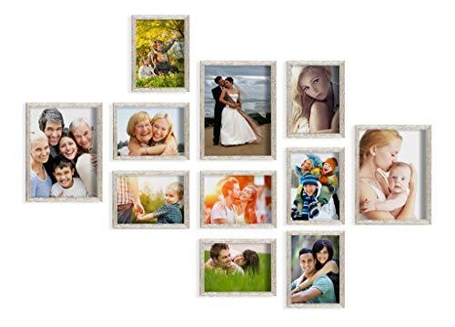 Artepoint 11er Set von Bilderrahmen 13x18 und 18x24 Bilderrahmen Galerie mit Schablone Silber gebürstet