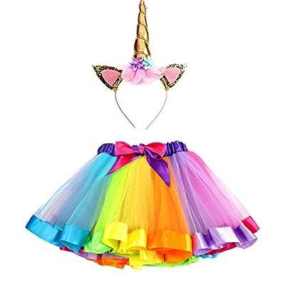 Ruiuzi - Conjunto de disfraz de unicornio con tutú arcoíris y diadema de unicornio, para niñas (5Y-8Y))