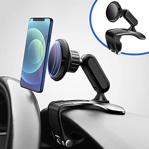 Supporto magnetico per telefono da auto, specchietto retrovisore multifunzione per cruscotto con morsetto a molla regolabile a 360 °, adatto per smartphone da 4-7 pollici