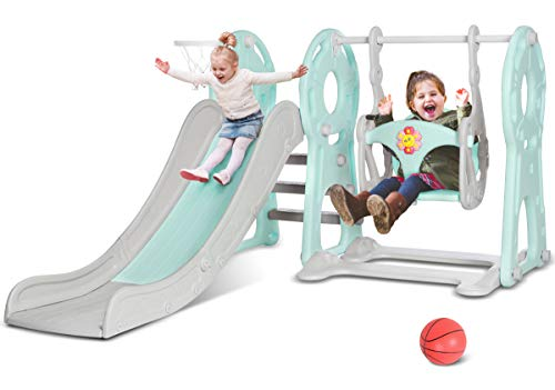 KINGSO Slide and Swing Set for Toddlers 4 in 1 Combination Climber Slide Playset Basketball Hoop 55quot Extra Long Slide Easy Climb Stairs Easy Set Up Baby Kids Playset for Indoor BackyardBlue