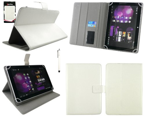 Emartbuy® Denver TAQ-10133 10.1 Zoll Tablet Universalbereich Weiß Multi Winkel Folio Executive Case Cover Wallet Hülle Schutzhülle mit Kartensteckplätze + Weiß Eingabestift