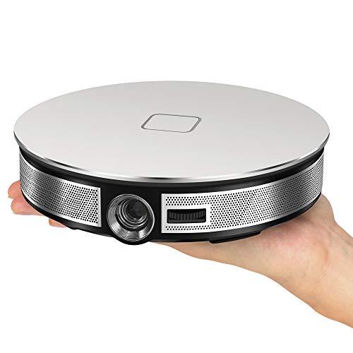 RK3368 Beamer Tragbar Projektor Aktualisierte 3500 Lumen LED 20000 Stunden Heimkino Unterstützt Full HD Unterstützt 1080P TV Box IOS Android Handybeamer Mehrweg 12000mAh (Silber)