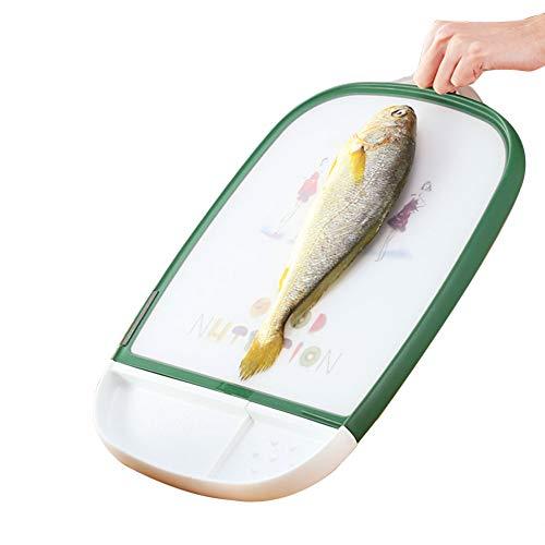 Rectangle Planche à Découper Plastique Et Bois Qualité Alimentaire Double Face Multifonction Avec Aiguiseur Légumes, Fruits, Viande Pour Cuisine Professionnelle