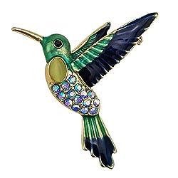 Blue Enamel Hummingbird With Rhinestones Brooch