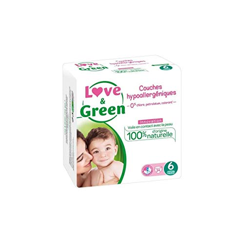 Love & Green Couches Hypoallergéniques 34 Couches Taille 6 (+15 kg)