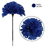 Larksilk Royal Blue Silk Carnation Picks, Artificial Flowers for Weddings, Decorations, DIY Decor, 100 Count Bulk, 3.5' Carnation Heads with 5' Stems