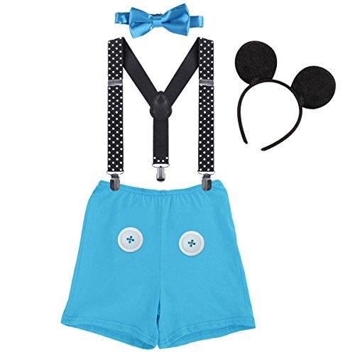 Baby Mickey Mouse 1./2./3. Geburtstag Halloween Kostüm Outfit Unterhose+Fliege+Y-Form Hosenträger+Maus Ohren 4pcs Bekleidungssets Fotoshooting Kostüm für Unisex Jungen Mädchen 0091Blau 12-18 Monate