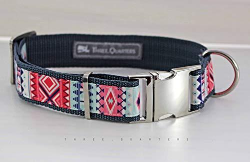 Hundehalsband Muster in rosa und blau, silber, 30mm, Gurtband dunkelgrau
