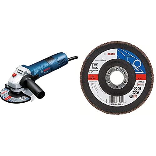 Bosch Professional Winkelschleifer GWS 7-125 (720 Watt, Scheiben-Ø: 125 mm) & DIY Fächerschleifscheibe (für Winkelschleifer verschiedene Materialien, bombierte Ausführung, Ø 125 mm, Körnung 40)