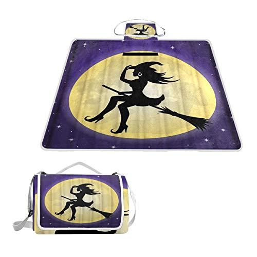 XINGAKA Manta de Picnic Impermeable,Bruja Divertida Halloween Ghost Moon Fly Sky Escoba,Alfombra...