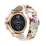 YOOSIDE for Fossil Q Venture Watch Band, 18mm Quick Release Leather Watch Band Strap for Fossil Q Venture Gen 3/Gen 4/HR Gen 4,Fossil Women's Gen 4 Sport (Pink-Flower)