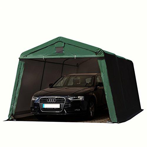 *TOOLPORT Zeltgarage 3,3 x 4,8 m Weidezelt Premium Carport 500 g/m2 PVC Plane Unterstand Lagerzelt Garage in dunkelgrün*