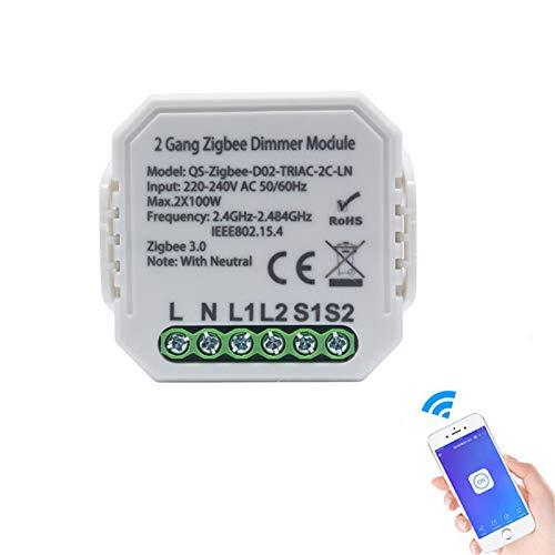 Smart Zigbee Dimmer Schalter, Dimmerschalter Modul Drahtlose Steuerung, 1/2 Gang 220V mit neutralem 2-Wege-Lichtschalter-Modul Kompatibel mit Alexa/Google