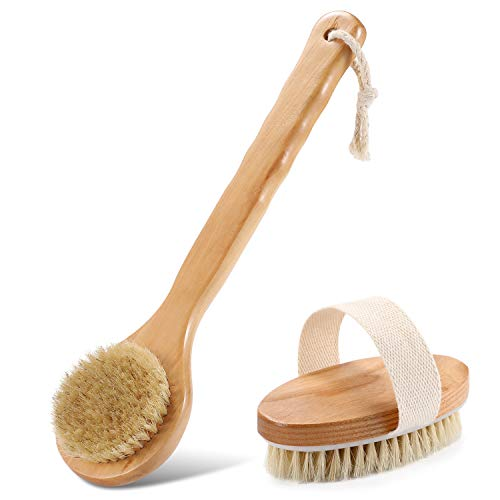 Two-Piece Brush Set, Long Brush and Oval Brush.Body Bath Brush for Wet or Dry Brushing with 100% Natural Boar Bristle Brush - Body Scrub Brush Wooden Massage Brushing Dry Remove Dead Skin.