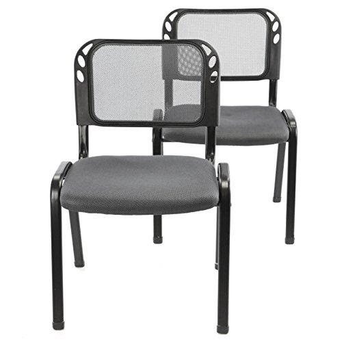 Nexos 2er Set Bürostuhl Konferenzstuhl Besucherstuhl grau gepolsterte Sitzfläche stapelbar 52,5 x 45 x 80 cm Stapelstuhl Metallrahmen schwarz Anthrazit