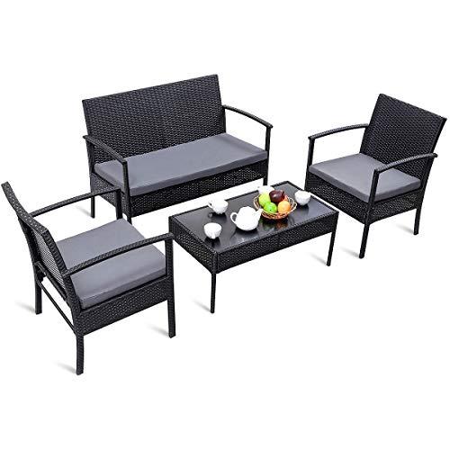 COSTWAY Rattanmöbel Poly Rattan Gartenmöbel Balkon Sitzgruppe Sitzgarnitur Essgruppe Lounge Set Gartenset Sitzgarnitur mit Kissen, schwarz