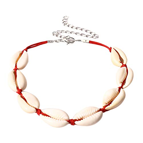 D.B .MOOD Natural Shell Necklaces Cowrie Bracelets Anklet Beads Boho Summer Beach Necklace for Women 0433 Red