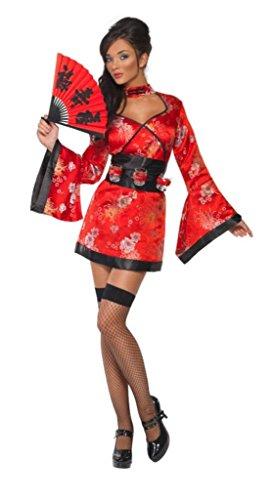 Smiffys, Sexy Vodka Geisha kostuum, jurk en riem met borrelglasplaathouder, maat: M, 20559