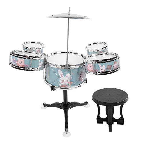 Kindertrommel, Jazztrommel Set Schlagzeug Musikinstrumente Lernen Spielzeug Schlagzeug Instrument Musik Lernspielzeug für Kinder im Alter von 1-6 Jahren Kleinkinder(Grün)
