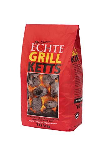 Holzkohlewerk Lüneburg Feuer&Flamme 10 kg Premium Holzkohle Grillketts - ideal für Dutch Oven, Smoker und Kugelgrill