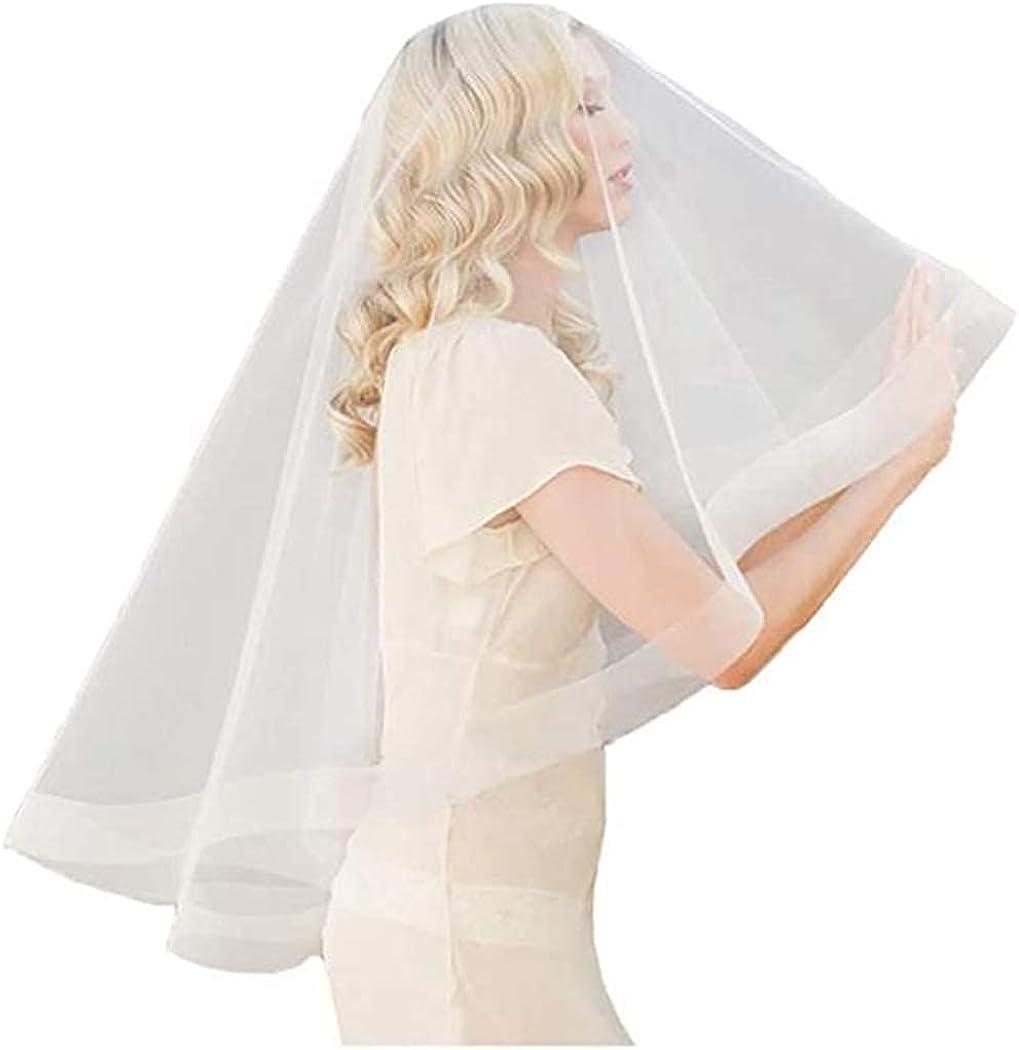 Dreamyn Women's Bride Wedding Veil 1 Tier Ivory Bridal Fingertip Veil Soft Tulle Ribbon Edge Veil