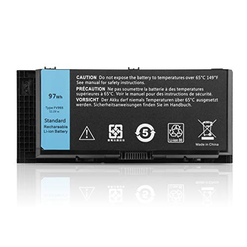 K KYUER 97Wh FV993 Laptop Akku für Dell Precision M4600 M4700 M4800 M6600 M6700 M6800 Mobile Workstation Laptop FJJ4W R7PND X57F1 PG6RC V7M28 KJ321 WD6D1 4HJXX T4DTX 33F0D FJJ4W Notebook Batterie