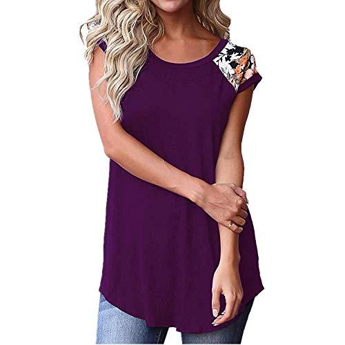 Camiseta Mujer Elegante Cuello Redondo Manga Corta Verano Blusa Casual Mujer para Vacaciones Playa Top Mujer Suave Cómodo Fino Y Ligero Tops Mujer C-Purple XL