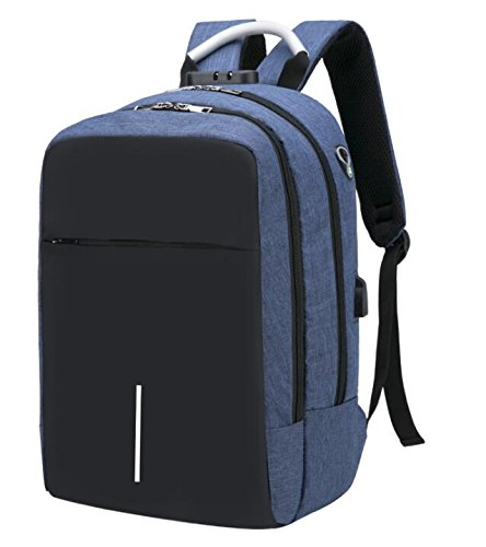 ZHANGOR USB Travel Rugzak, Reflecterende Oxford Anti-Diefstal Rugzak Hoofdtelefoon Jack Schoudertas, School/Werk, Blauw