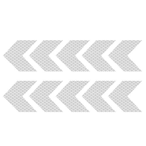 3M Reflective Stickers, 10Pcs Safety Caution Warning Sticker Decals, Arrows Pattern Reflective Sticker for Helmets, Car, Motorcycle, Bicycles, Strollers (SilverWhite)