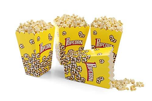 takestop® Opbergdoos Popcorn geel doosjes van papier, opvouwbaar, geconfectioneerd, snoep, koekjes, feestzakje, verjaardagscadeau verjaardag, 9x7.5x14.5, 36 stuks.