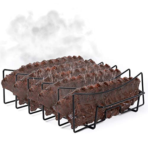 SparkIt Rib Rack for Smoking and Grilling - Non Stick 5 Slot Capacity - No Trimming Necessary