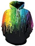 TUONROAD Felpe con Cappuccio Uomo Divertente Vernice Colorata 3D Stampare Nero Hoodie Donna Leggere Gym Pullover Confortevole Sweatshirt Maniche Lunghe Casual Maglione Sweat Jacket con Tasche - S/M