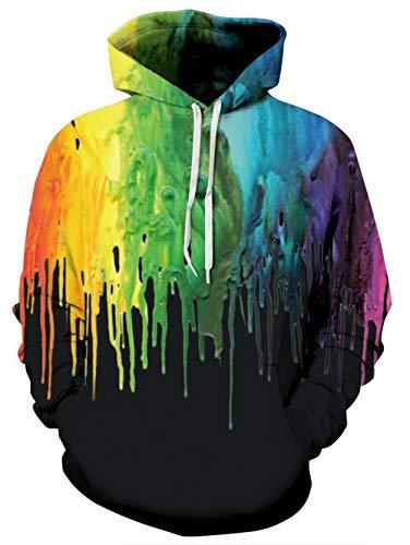 TUONROAD Hoodies Uomo Ugly Vernice Colorata 3D Stampare Nero Sweatshirt Donna Leggere Gym Pullover Confortevole Felpe con Cappuccio Maniche Lunghe Casual Maglione Sweat Jacket con Tasche - L/XL