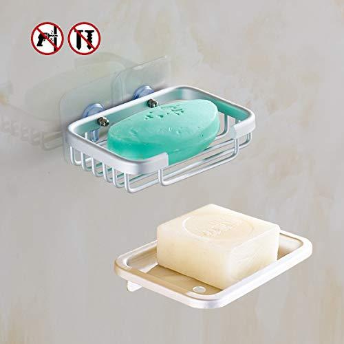 Yeegout Jabonera Adhesiva de Aluminio, sin Perforaciones Soporte de Pared para jabón para Ducha, 2 Unidades