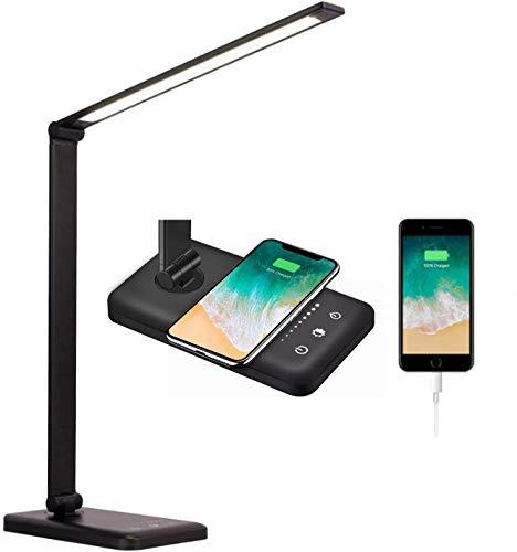 HOXIYA LED-Schreibtischlampe mit kabelloser und USB-Aufladung, 5 Farbtemperaturmodi, Dimmen, Touch-Steuerung und Auto-Timer-Funktion