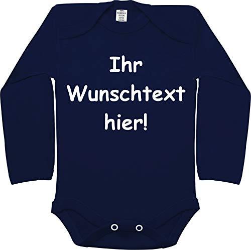 Baby Body (lang, Uni Blau, Größe: 70/80) - mit Name/Wunschtext