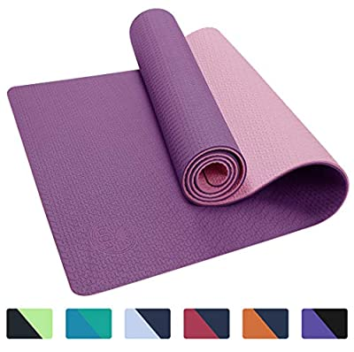 "IUGA Yoga Mat Non Slip Textured Surface, Reversible Dual Color, Eco Friendly Yoga Mat with Carrying Strap, Thick Exercise & Workout Mat for Yoga, Pilates and Fitness (72""x 24""x 6mm) (Purple/Pink)"