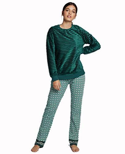 GISELA Pijama Peluche de Mujer (L, Verde)