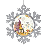 C COABALLA Cute Kids Celebrating Thanksgiving Day with Animals in a Teepee Tent - - - OVA,2020 Christmas Tree Ornament,Xmas Tree Hanging Ornament Holiday Christmas Family & Gift Acorn 1PCS